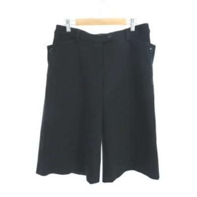 【中古】ノーリーズ Nolley's ライト Light パンツ ワイド バギー ひざ丈 ウール混 オーバーサイズ 38 黒 ブラック レディース