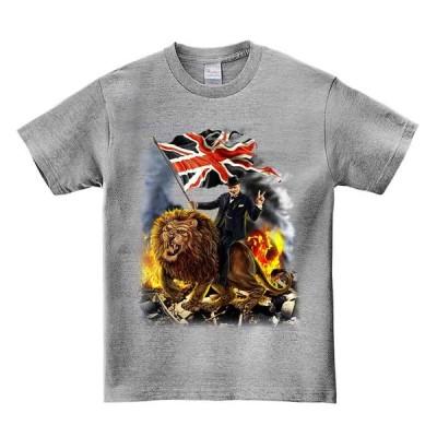 【ライオンにまたがるウィンストンチャーチル】メンズ 半袖 Tシャツ
