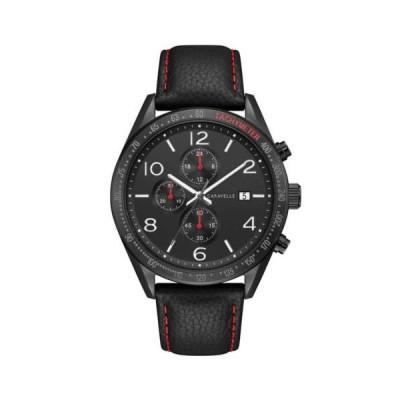 腕時計 キャラベル Caravelle 45B153 Men's Sport Black Dial Black Strap Chrono Watch