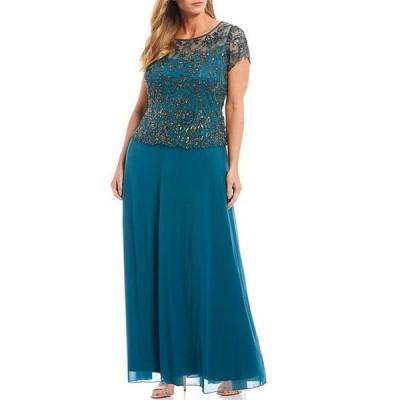 ピサッロナイツ レディース ワンピース トップス Plus Size Floral Vines Beaded Short Sleeve Peplum Flounce Bodice Chiffon Skirted Dress
