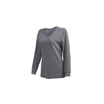 N /A Women's Soft fine Knitting Long Sleeve V-Neck Sweater (Grey, Large)並行輸