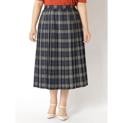【大きいサイズ】【タイムセール中!9/29(火)10:59am迄】チェックプリーツスカート 大きいサイズ スカート レディース