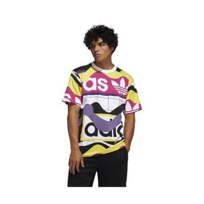 アディダス 半袖 Tシャツ メンズ ホワイト/ブラック/イエロー/パープル カタログ AOP ショートスリーブ Tシャツ ロゴT Men's adidas Originals Catalog