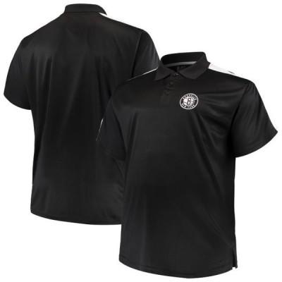 ユニセックス スポーツリーグ バスケットボール Brooklyn Nets Majestic Big & Tall Birdseye Polo - Black/White Tシャツ