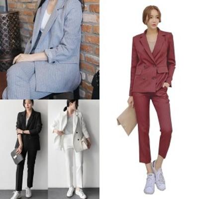 セットアップ スーツ レディース おしゃれ ストライプ スーツ ジャケット 上下セット 韓国 ファッション レディース パンツスーツ セット