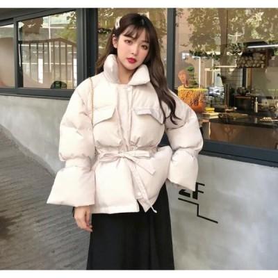 中綿コート ダウン風ジャケット アウター レディース ショット丈 冬着 暖かい 腰紐  体型カバー ゆったり 着痩せ 2色 大人可愛い