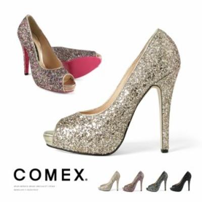 コメックス パンプス ラメ オープントゥ 13cmヒール ハイヒール グリッター COMEX ヒール 7243 美脚 結婚式 靴 送料無料