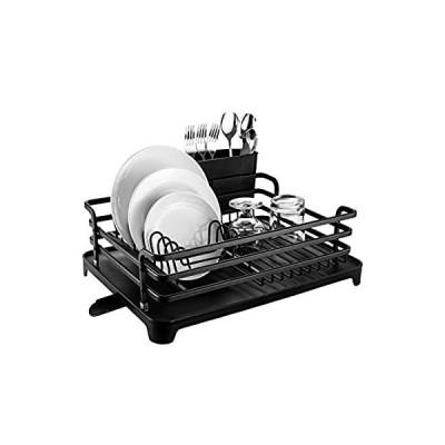 HabiLife アルミ製食器乾燥ラック 錆びないシンク 食器乾燥ラック 台所用品ホルダー付き 取り外し可能なプラスチック製水切りトレイ 調節可能なス好評販売中