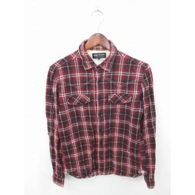 【中古】ビームス BEAMS シャツ カジュアル チェック ステンカラー 綿 コットン 長袖 M 赤 黒 レッド ブラック /TT23