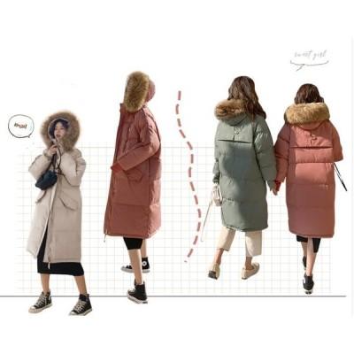 人気 ダウンコート コート レディース 超ロングダウンコート 中綿ジャケット  アウター 秋冬用 防寒対策 フード付き 4色 フェイクファー ゆったり