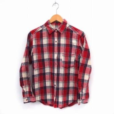 【中古】スピック&スパン Spick&Span シャツ チェックシャツ 長袖 ポケット 綿 コットン レッド /ST4 レディース