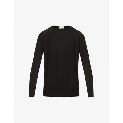 ジョンスメドレー JOHN SMEDLEY メンズ ニット・セーター トップス Crewneck long-sleeved wool jumper BLACK