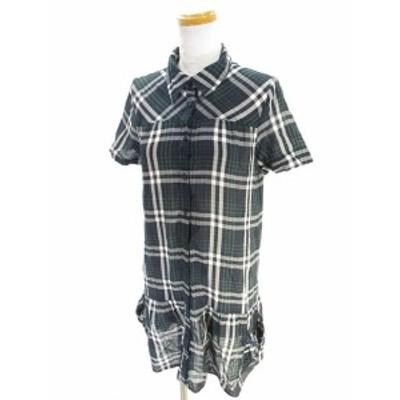 【中古】ミッシェルクラン iiMK 美品 シャツ ワンピース 半袖 膝丈 ミドル チェック 柄 紺 ネイビー 38 レディース