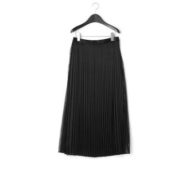 シアーレザーライクサテン プリーツスカート