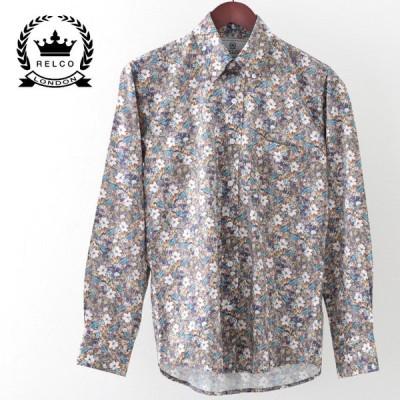 RELCO レルコ 長袖シャツ 花柄シャツ フラワー フローラル レトロ マルチ プラチナコレクション メンズ モッズファッション