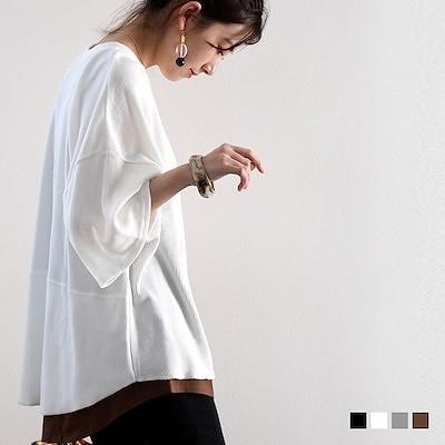 メール便 送料無料 5分袖 サーマルT ワッフル 無地 Tシャツ 丈長め コットン シンプル トップス クルーネック 大きいサイズ XL ロング丈 オーバーサイズ cl7008