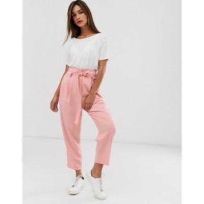 エイソス レディース カジュアルパンツ ボトムス ASOS DESIGN tailored tie waist tapered ankle grazer pants Pink