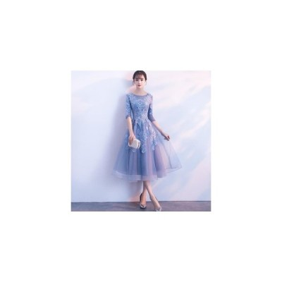 パーティードレス ミモレ丈 結婚式ドレス お呼ばれ ワンピース 二次会 ゲストドレス フォーマルドレス 発表会 ウェディングドレス ブライズメイド ドレス