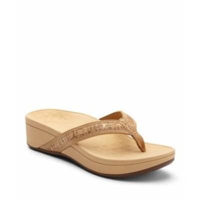 バイオニック レディース サンダル シューズ High Tide Leather & Textile Flip-Flops Gold Cork