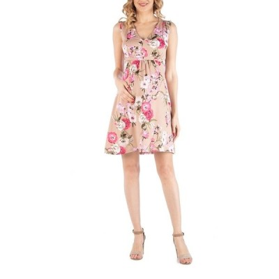 24セブンコンフォート ワンピース トップス レディース Sleeveless Empire Waist Floral Print Maternity Cocktail Dress Print