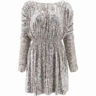 イヴ サンローラン Saint Laurent レディース ワンピース ワンピース・ドレス Flared Sequin Dress Silver