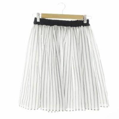 【中古】ティアラ Tiara スカート ギャザー ひざ丈 ストライプ チュール 3 白 ホワイト /AAM4 レディース