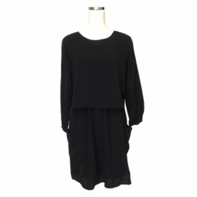 美品 URBAN RESEARCH アーバンリサーチ ドレープワンピース (黒 ブラック ドレス) 120907 【中古】