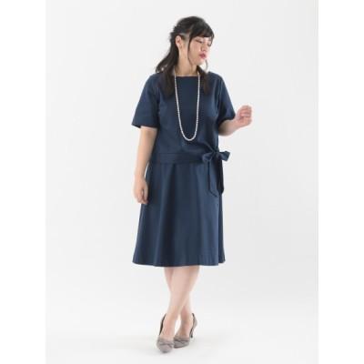【大きいサイズ】日本製生地2点セット(裾リボントップス+膝丈フレアスカート) 大きいサイズ 大きいサイズ パーティドレス・ワンピース レディース