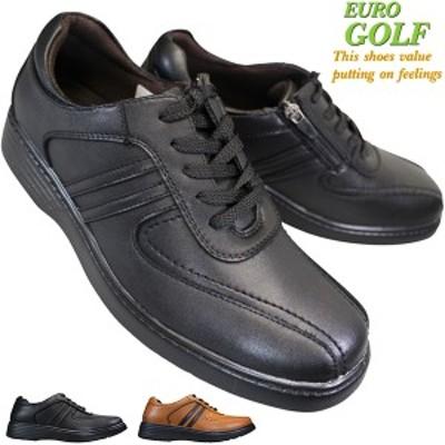 EURO GOLF 98681 メンズ カジュアルシューズ コンフォートシューズ 紳士靴 スニーカー 合成皮革 4E 幅広 ワイド サイドファスナー サイド
