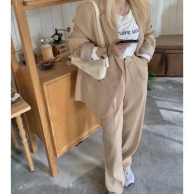 韓国 ファッション レディース セットアップ ジャケット ワイドパンツ ロング丈 ハイウエスト 長袖 無地 シンプル カジュアル 大人可愛い