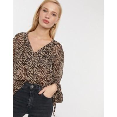 エイソス レディース シャツ トップス ASOS DESIGN button-through blouse in leopard print Multi