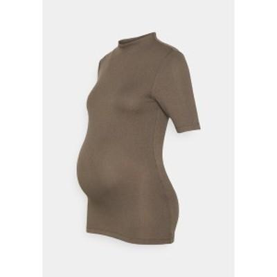 ピーシーズ マタニティ レディース Tシャツ トップス PCMSIERRA MOCK NECK - Print T-shirt - taupe taupe