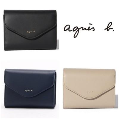 アニエスベー agnes b 財布 ミニ財布 コンパクト 牛革 レザー ブラック ベージュ ネイビー ロゴ KW01‐01 取り寄せ