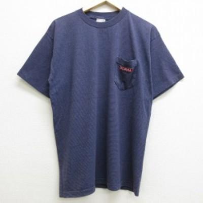 古着 半袖 ビンテージ Tシャツ 80年代 80s ドラル 刺繍 胸ポケット付き コットン クルーネック USA製 紫 パープル ボーダー XLサイズ 中