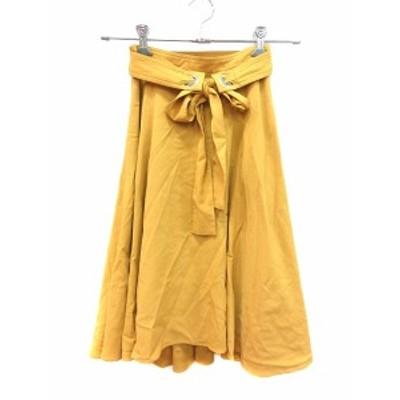 【中古】アプワイザーリッシェ Apuweiser-riche スカート フレア ミモレ ロング 0 黄色 イエロー マスタード /CT レディース