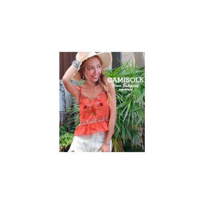 ANAP フラワー刺繍キャミソール オレンジ