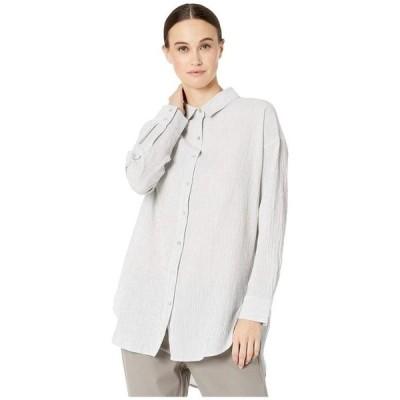 エイリーンフィッシャー レディース シャツ トップス Tencel & Organic Cotton Crinkle Classic Collar Boxy Shirt