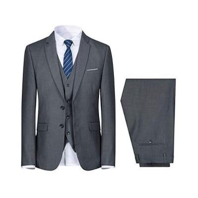 YUNCLOS スーツ メンズ スリーピース スリムタイプ 3点セット(ジャケット・ベスト・スラックス) 上下セットタキシード ビジネススー