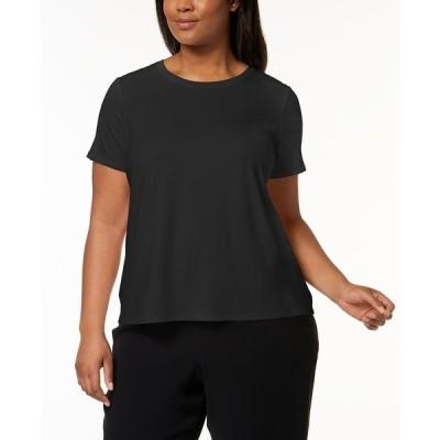 エイリーンフィッシャー カットソー トップス レディース Plus Size Stretch Jersey T-Shirt Black