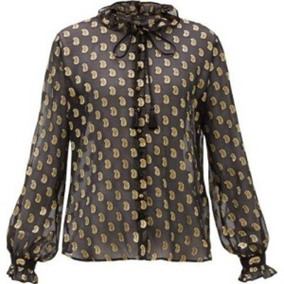 エトロ Etro レディース ブラウス・シャツ トップス Breton paisley fil-coupe silk-georgette blouse Black