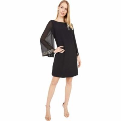 ヴィンス カムート Vince Camuto レディース ワンピース シフトドレス ワンピース・ドレス Crepe Shift Dress with Chiffon Sleeves Blac