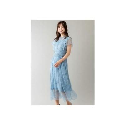 プチハイネックレースドレス(0R04-01054) (ブルー)