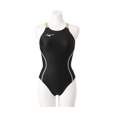 ミズノ公式 競泳用ミディアムカット レースオープンバック レディース ブラック×ライム