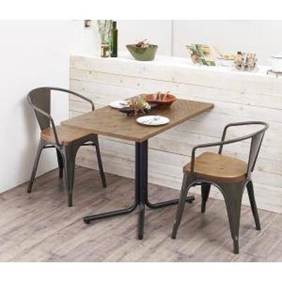 ダイニングテーブルセット 2人用 椅子 一人暮らし コンパクト 小さめ ワンルーム おしゃれ 安い 北欧 食卓 3点 ( 机+肘付きチェア2脚 )