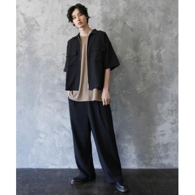 シャツ ブラウス セットアップ ポリトロストレッチ半袖ビックポケットジップシャツ&ワイドパンツ