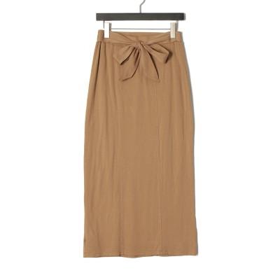 Travel line skirt ウエストリボン スカート ブラウン s