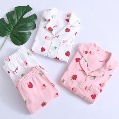 パジャマ キッズ パジャマ いちご柄 寝巻き ルームウェア 上下セット パジャマ 全店2点送料無料