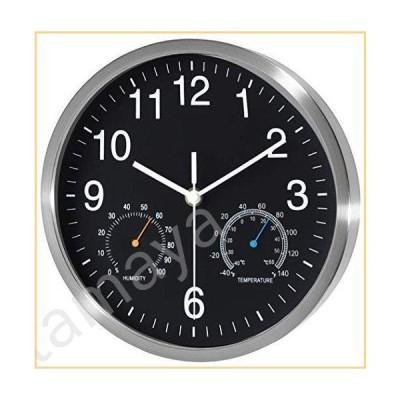 Fzy.bstim カチッとしないサイレント壁掛け時計 電池式 10インチ 高品質クォーツ アナログ壁掛け時計 温度