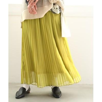 【オシャレウォーカー】 『シャイニープリーツスカート』 レディース マスタード フリーサイズ osharewalker