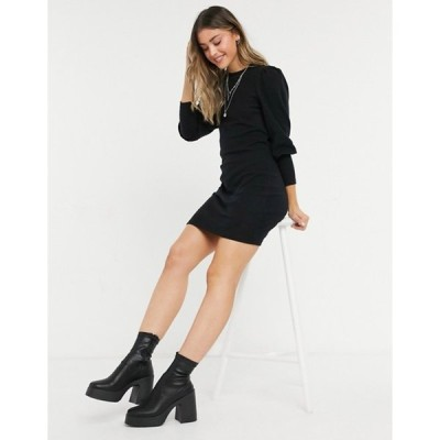 エイソス レディース ワンピース トップス ASOS DESIGN super soft puff sleeve mini dress in black